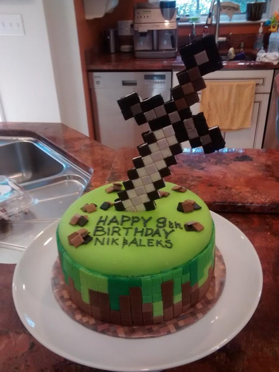 Minecraft Round Sword Cake Cakecentral Com