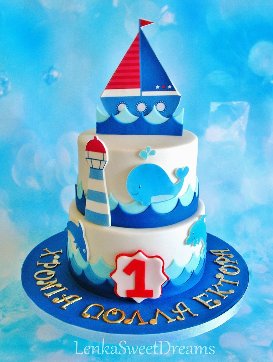 Nautical Birthday Cake For A Little Sailor Cakecentral Com