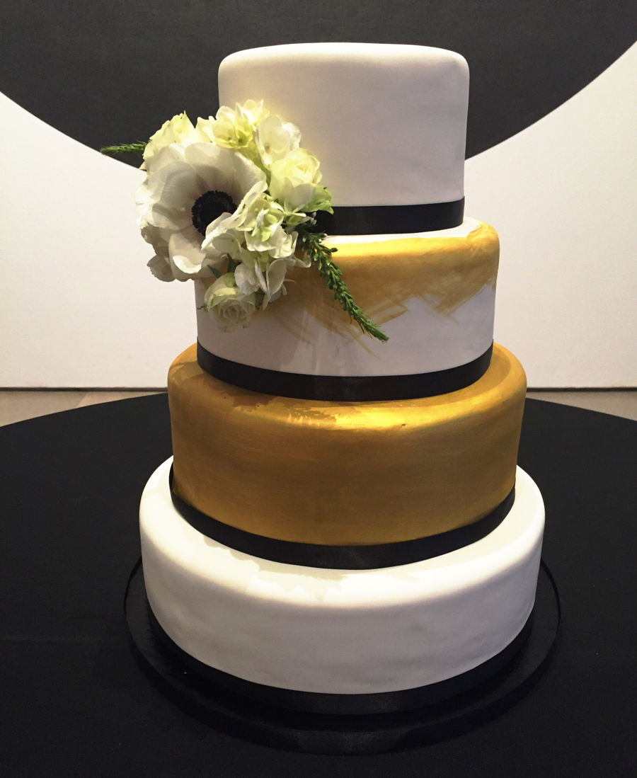 White  Black  And Gold Wedding Cake   CakeCentral com White  Black  And Gold Wedding Cake on Cake Central