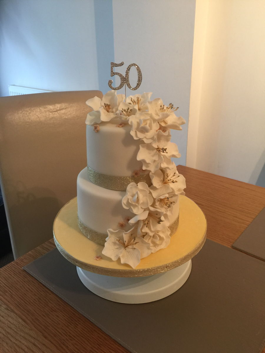 50th Birthday Cake With Fondant Flowers Cakecentral Com