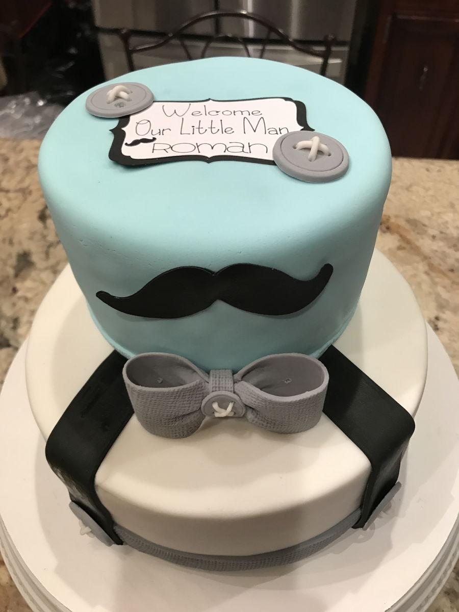 Little Man Mustache Baby Shower Cake Cakecentral Com