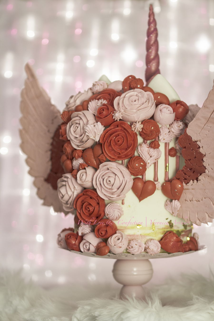 Valentine Unicorn Cake With Meringue Wings By Veronica