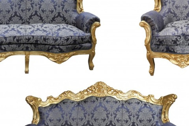 HD Decor Images » Casa Padrino Barock Wohnzimmer Set Royal Blau Muster  Gold   3er     Casa Padrino Barock Wohnzimmer Set Royal Blau Muster  Gold   3er Sofa 2er  Sofa  Loading zoom