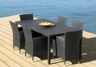 Outdoor Patio Wicker Furniture All Weather Resin 7 Piece New Dining     Image 1