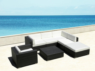 Outdoor 7Pc Sectional Sofa Set I SHOP NOW I FREE SHIPPING     All Weather Wicker Furniture 7pc Resin Couch Set  Image 1