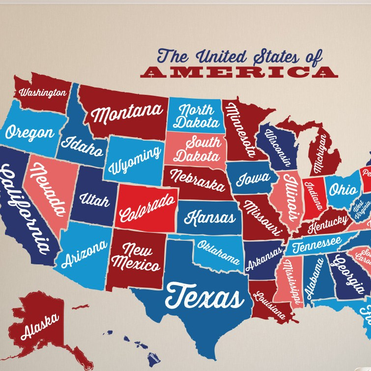 HD Decor Images » United States Map  Decal USA Map Sticker  State Map Wall Mural  Map     USA Wall Decal Map Vintage Retro www AmeriDecals com