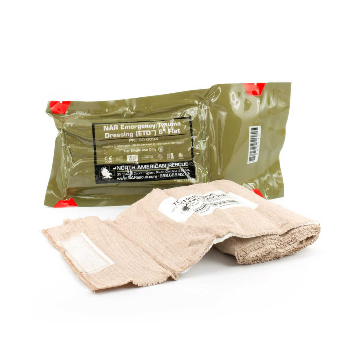 "North American Rescue - Emergency Trauma Dressing 4"" Flat"
