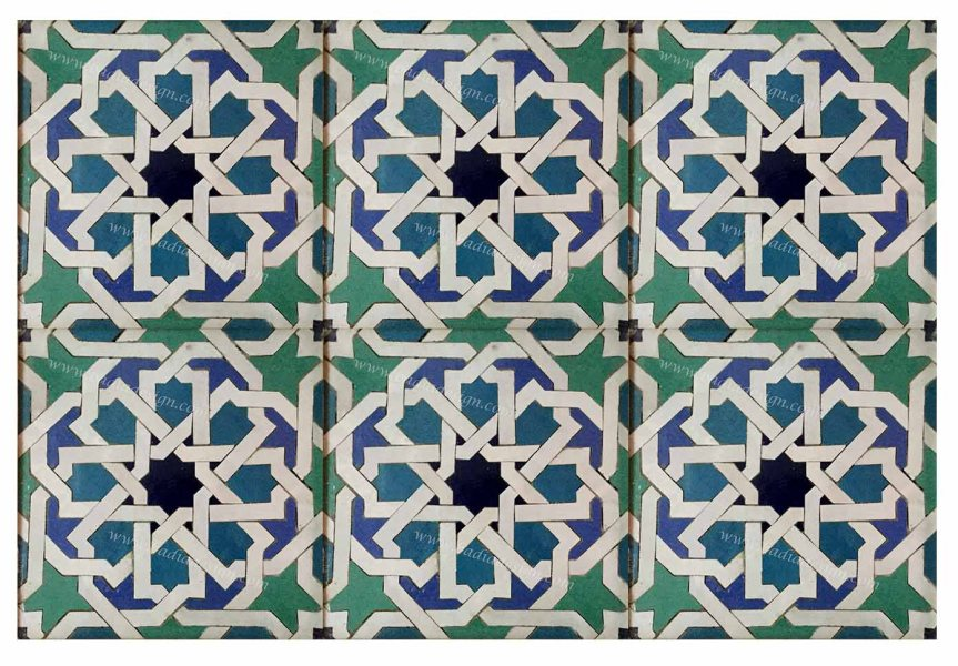 Moroccan Mosaic Hand Painted Floor Tile from Badia Design Inc  moroccan mosaic hand painted floor tile tm039 2