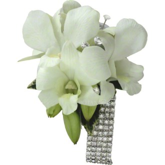 White Corsage Flowers Gold Coast Delivery   Botanique Corsage of White Orchids diamante wrist band