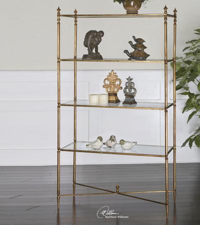 Henzler Gold Leaf Glass Shelf Etagere Bookcase Zin Home