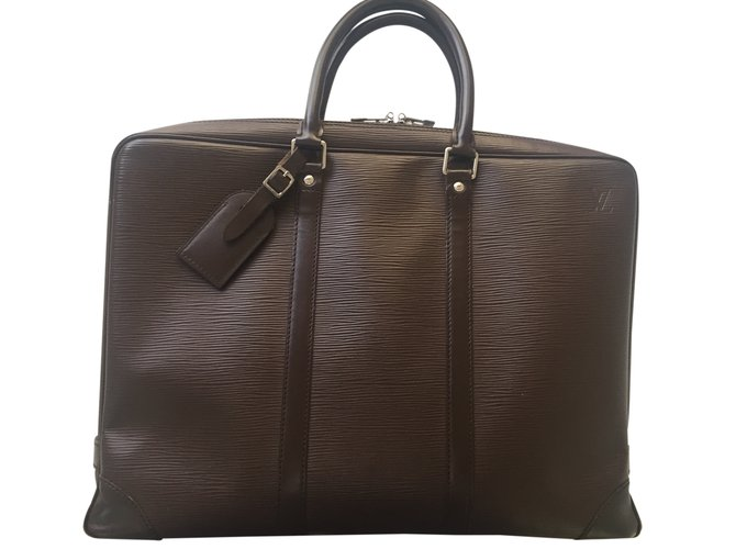 Sacs      main Louis Vuitton Sac porte document cuir     pi Cuir Marron     Sacs      main Louis Vuitton Sac porte document cuir     pi Cuir Marron ref 24767