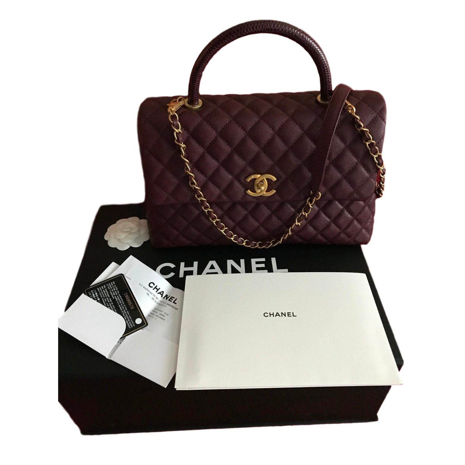 Chanel CHANEL Coco Handle Medium Bag Burgundy Caviar ...
