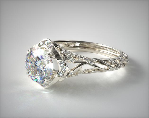 Engagement Rings Vintage 14k White Gold Diamond Filigree Engagement Ring Item 52620