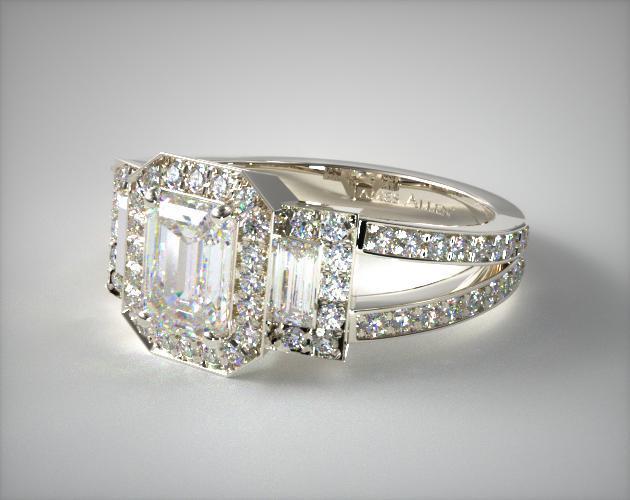 Emerald Three Stone Engagement Ring Platinum James Allen 17452p
