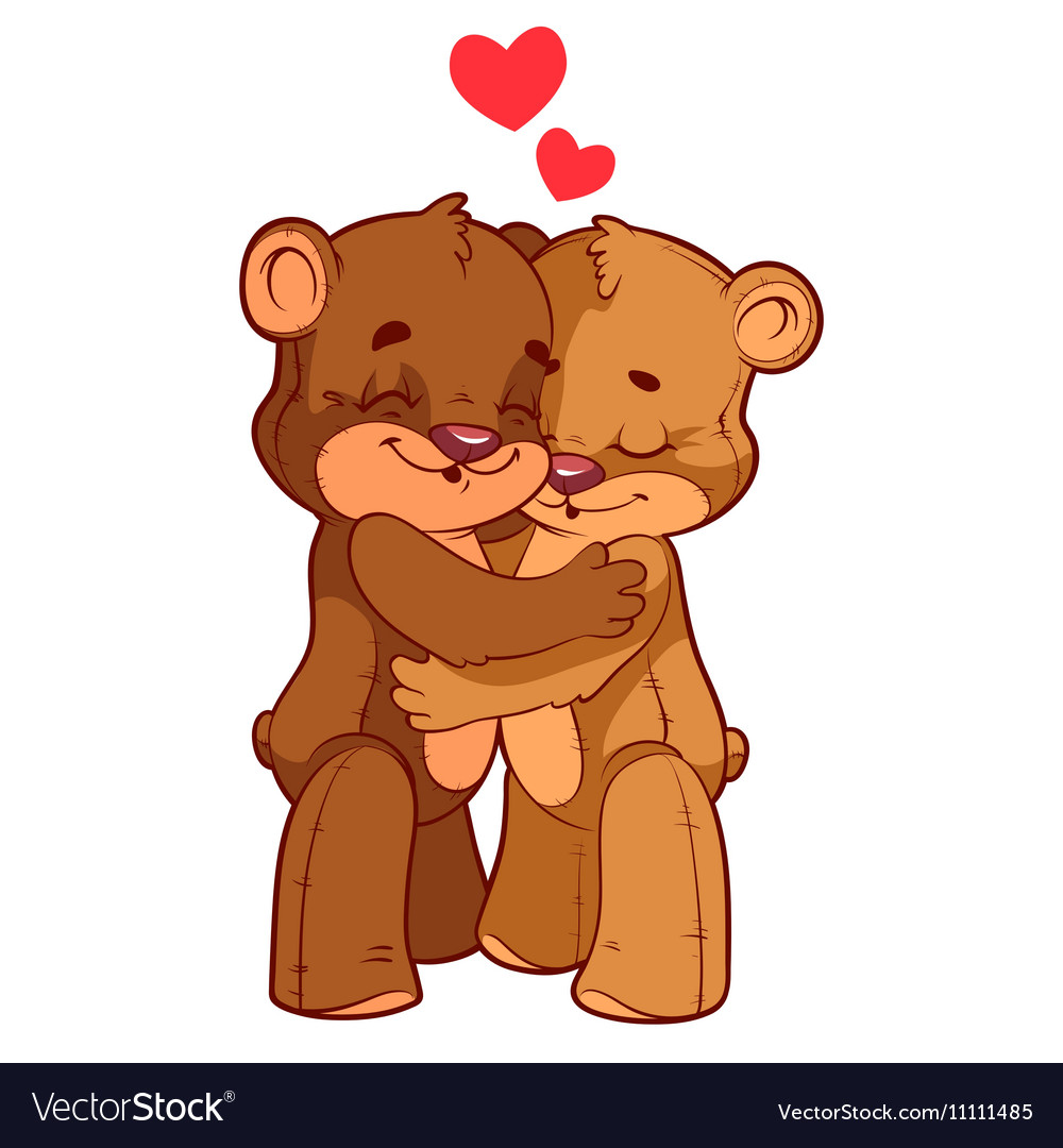 Two Cartoon Bears Hugging Teddy