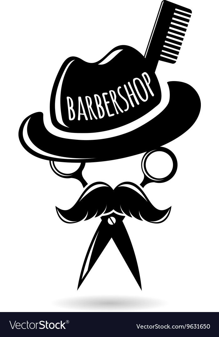 Barbershop hipster logo character Royalty Free Vector Image
