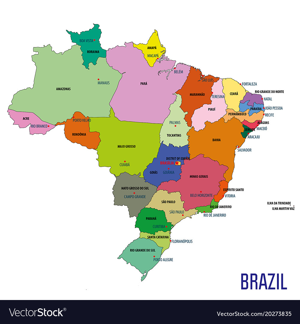Political map of brazil Royalty Free Vector Image Political map of brazil vector image