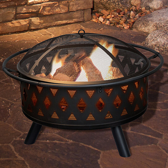 Buy Pure Garden 32 Inch Round Crossweave Fire Pit With