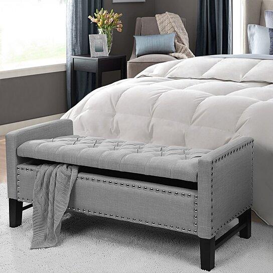 Buy Scarlett Linen Button Tufted Storage Bench Silver