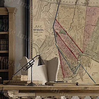 HD Decor Images » Buy Vintage Map New Orleans Map Louisiana Historic Restoration Style     Buy Vintage Map New Orleans Map Louisiana Historic Restoration Style Map of New  Orleans Fine Art Print Large wall map Home office coporate decor by Vintage