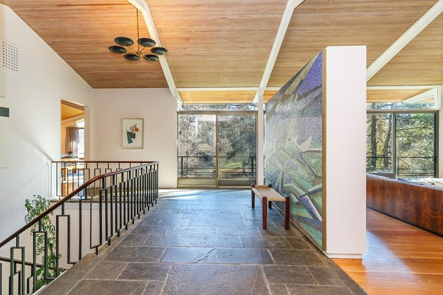 On The Market A Midcentury Modern Home In Dedham With A Greenhouse   Mid Century Modern Handrail   Porch   Interior   Art Deco   Wooden   Railing