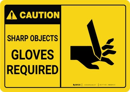 Caution Ppe Sharp Objects Gloves Required With Graphic