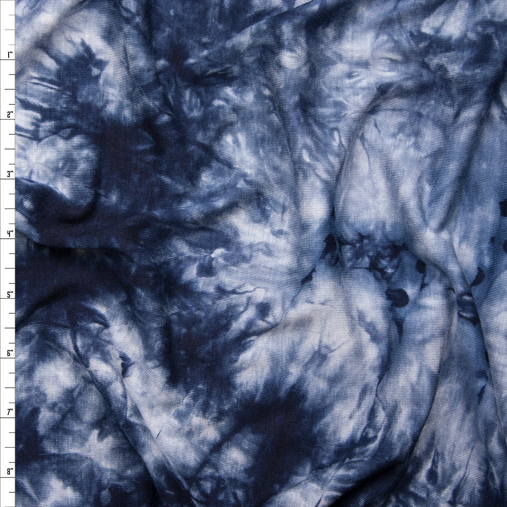 7474cbadce8f Cali Fabrics Navy And Light Grey Tie Dye Stretch Rayon lycra Jersey