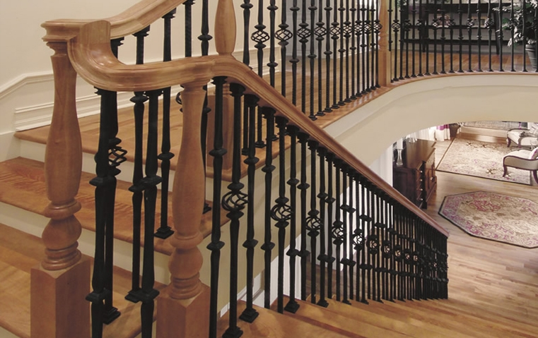 Stair Parts Wood Handrails Iron Balusters | Wood Handrail With Iron Balusters | Ash Gray | Ole Iron | Upstairs | Wrought Iron | Low Profile