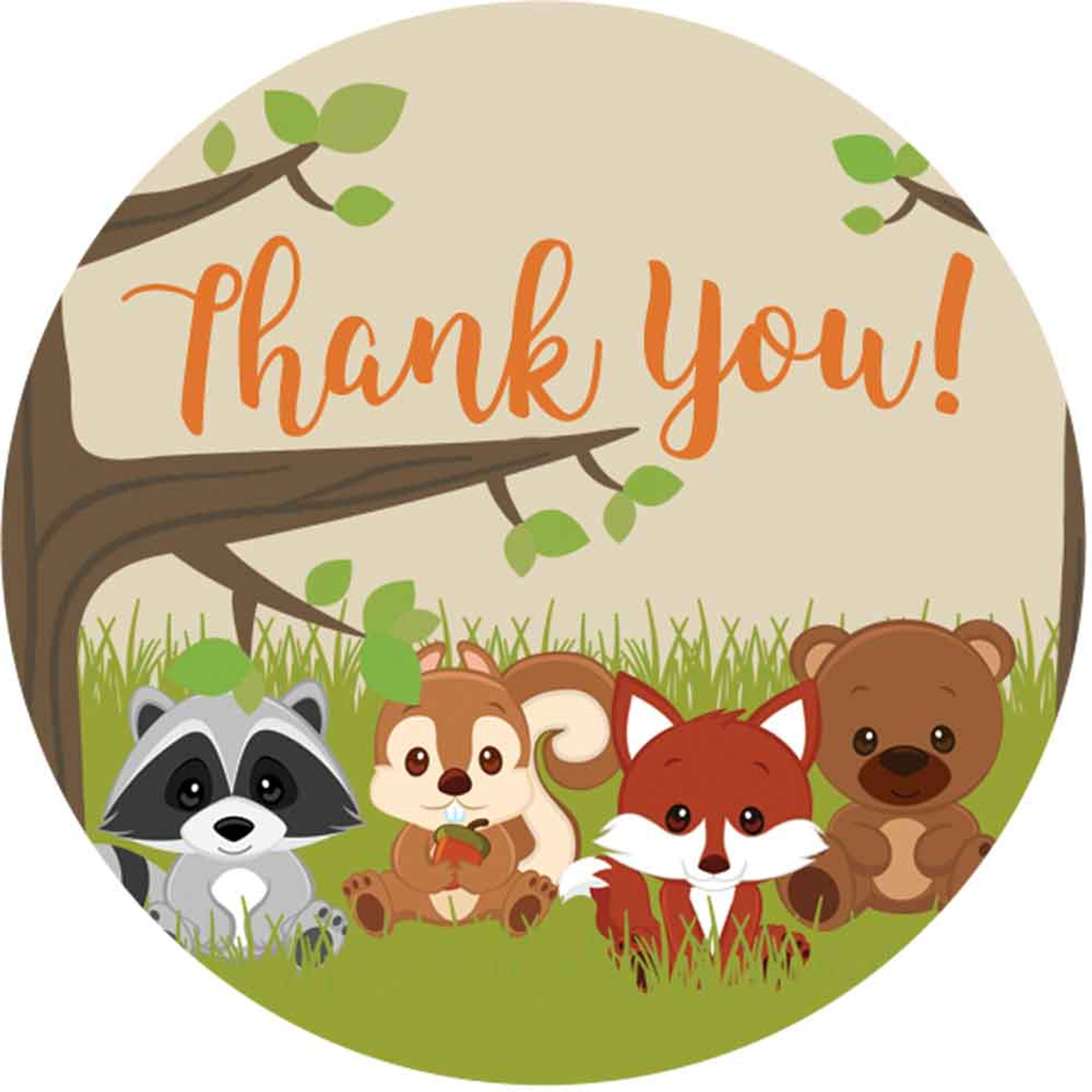 Woodland Animals baby shower stickers thank you