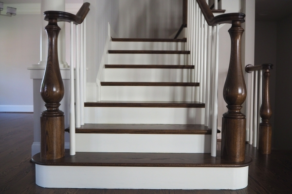 High Quality Wood Stair Parts Thick Stair Treads Large Newel | White Oak Handrail Round | Flooring | Wood Handrail | Foyer | Mopstick | Staircase