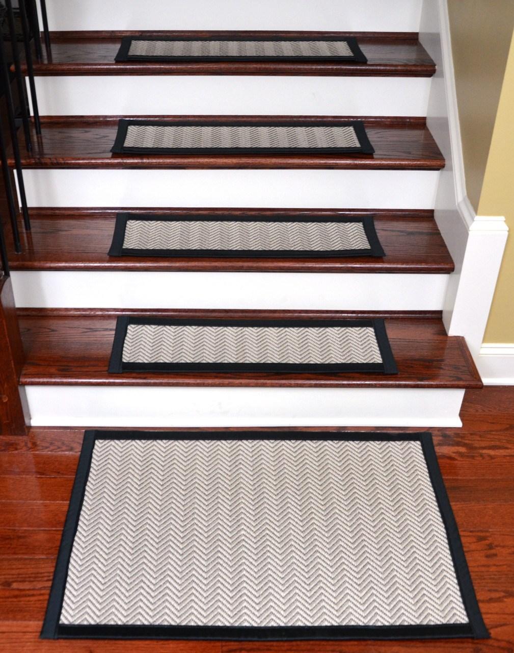 Hatteras Flatweave Stair Treads Tape Free 15 Pk | Dean Flooring Stair Treads | Fiber Sisal | Bullnose Wraparound | Stick Bullnose | Sisal Carpet | Washable Non