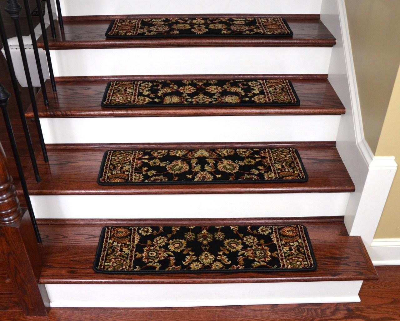 Keshan Ebony Non Slip Carpet Stair Treads 31 X 9   Cheap Carpet Stair Treads   True Bullnose   Hallway Carpet   Carpet Runners   Slip Resistant   Bullnose Carpet