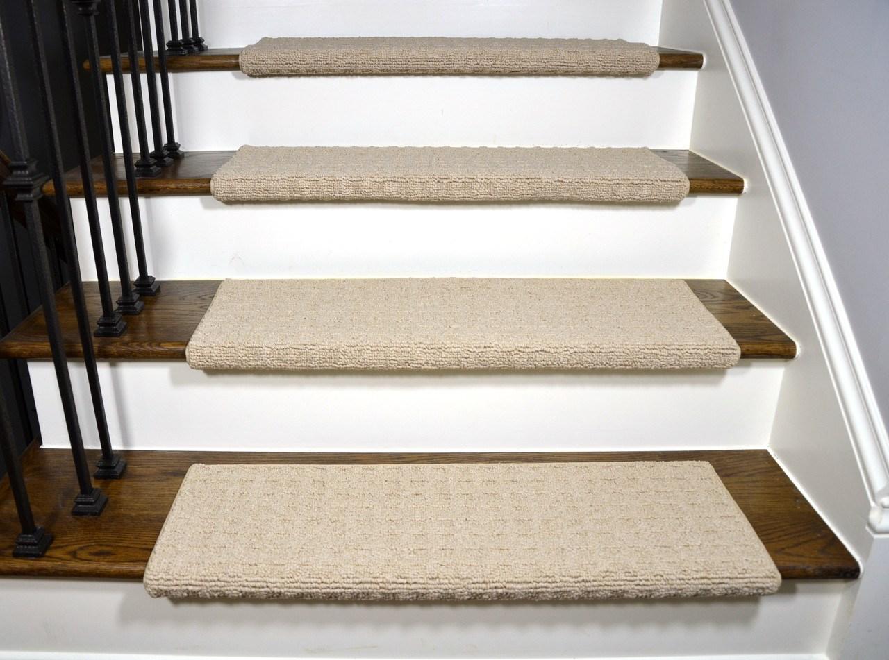 Dean Quadrille Aged Linen Tape Free Bullnose Carpet Stair Treads | Temporary Carpet For Stairs | Non Slip | Stair Treads | Tile | Protection | Plastic