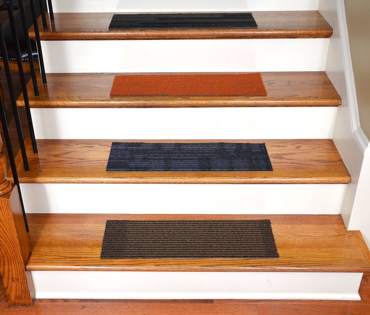 Dean Diy Mosaic Peel And Stick Carpet Stair Treads Set Of 13 | Stick On Stair Treads | Step | Unique | Maple Stair | Integrated Post | Solid Weathered