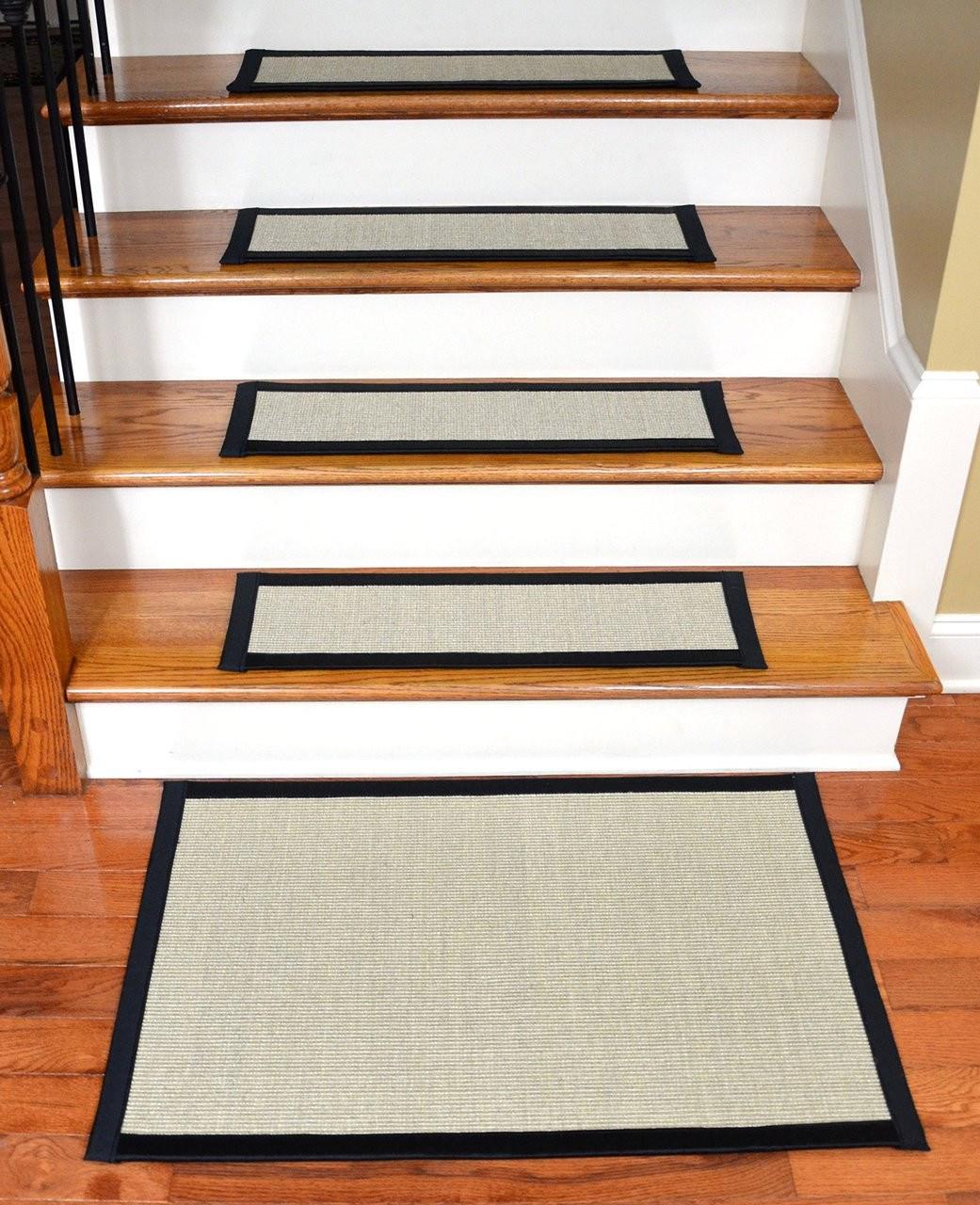 Sisal Stair Treads With Matching Landing Mat 29 X 9 | Black Carpet Stair Treads | Bullnose | Slip Resistant | Interior | Gray | Indoor