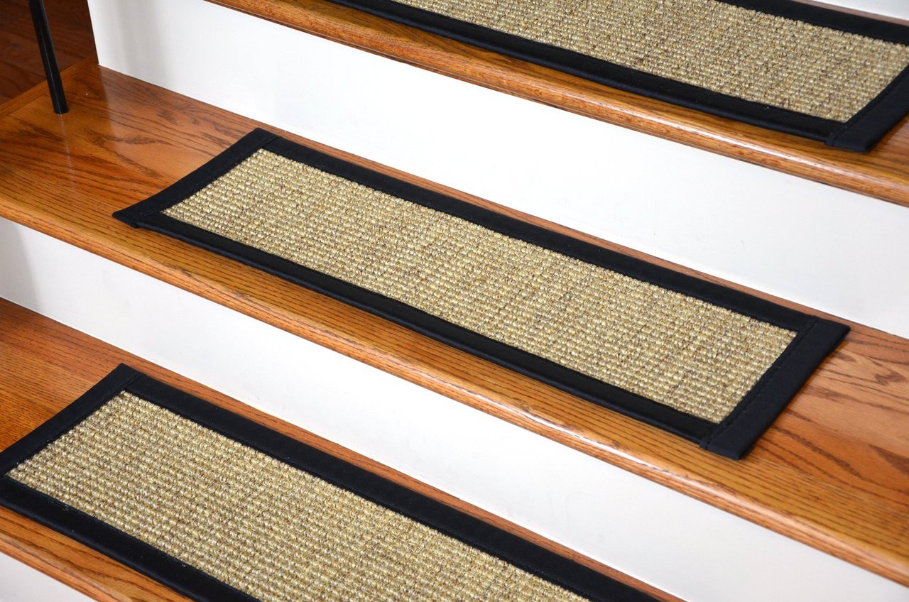 Dean Attachable Non Skid Sisal Stair Treads Set Of 13 | Decorative Non Slip Stair Treads | Stair Railing | Washable | Rugs | Dirt Proof | Rubber Backing
