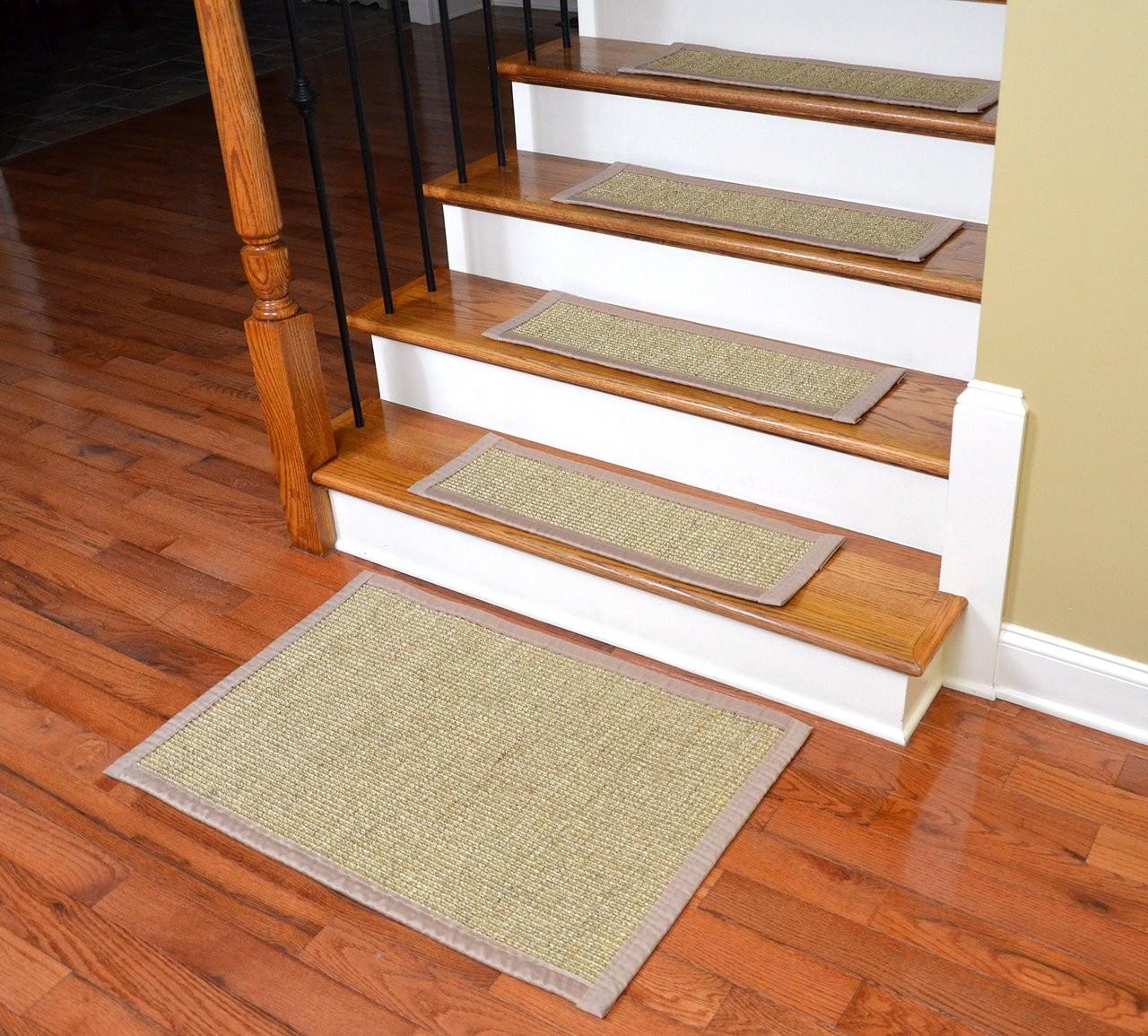 Dean Sisal Carpet Stair Treads Set Of 13 W Landing Mat | Carpet Steps For Stairs | Glitter Carpet | Elegant | Middle Open Concept | Heavy Duty | Gorgeous
