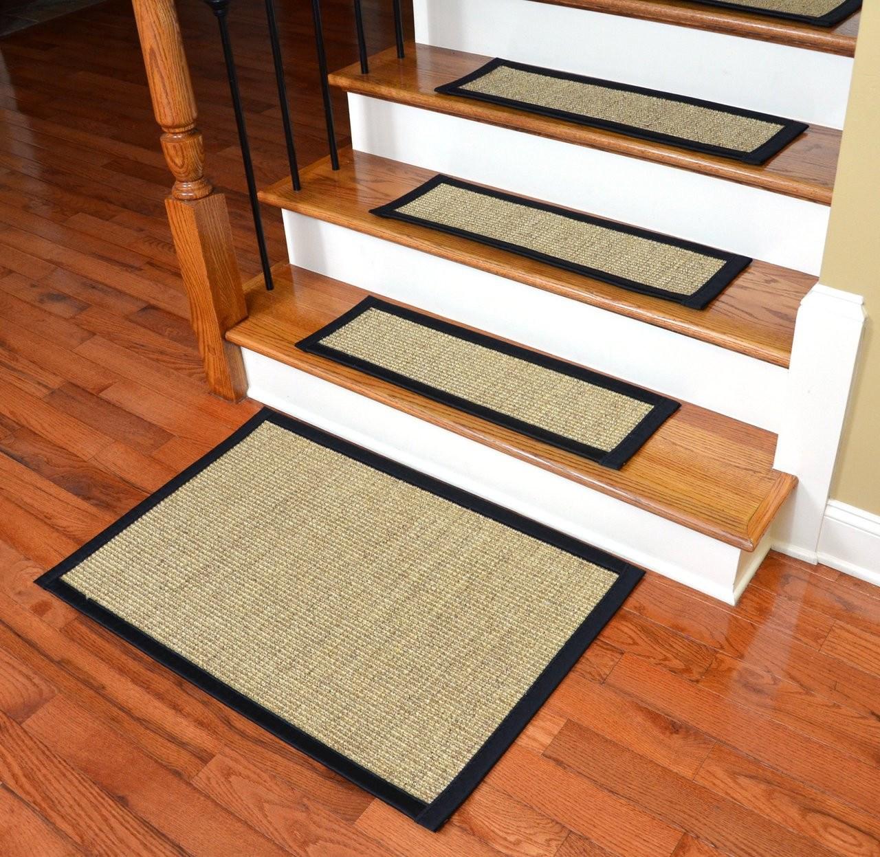 Dean Sisal Carpet Stair Treads And Mat Set Of 13 | Dean Flooring Stair Treads | Fiber Sisal | Bullnose Wraparound | Stick Bullnose | Sisal Carpet | Washable Non