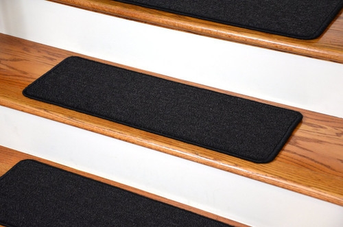 Dean Diy Peel And Stick Serged Non Skid Carpet Stair Treads | Stick On Stair Runners | Hardwood | Stick Serged | Beige Carpet | Wood | Carpet Tiles