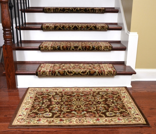 Dean Non Slip Tape Free Pet Friendly Stair Gripper Bullnose Carpet | Decorative Non Slip Stair Treads | Stair Railing | Washable | Rugs | Dirt Proof | Rubber Backing