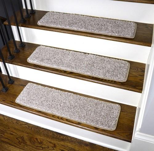 Dean Washable Non Slip Carpet Stair Treads Macadamia Beige Set | 30 Inch Carpet Stair Treads | Sided Tape | Bullnose Wraparound | Machine Washable | Greek Key | Non Skid