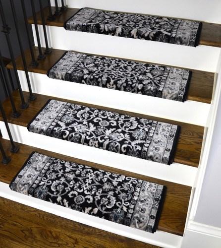Dean Stratford Keshan Black Bullnose Carpet Stair Treads   Carpet Stair Treads Only   Wood   Hardwood   Stair Runner   Non Slip   Hardwood Floors