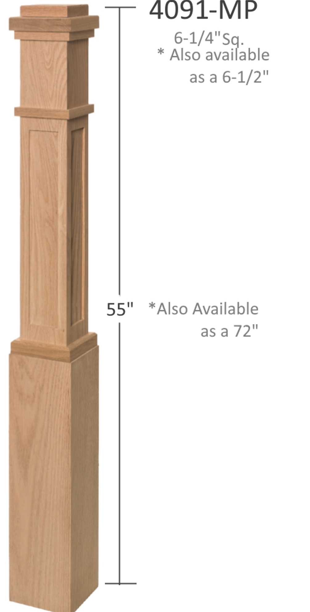 4091 Series Wood Box Newel Box Newels In Red Oak Maple Poplar   Craftsman Style Newel Post   Shaker   Construction   Colonial Elegance   Antique   1930 Style