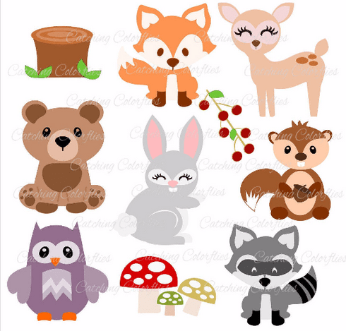 Baby Woodland Animal SVG Cut Files - Catching Colorflies
