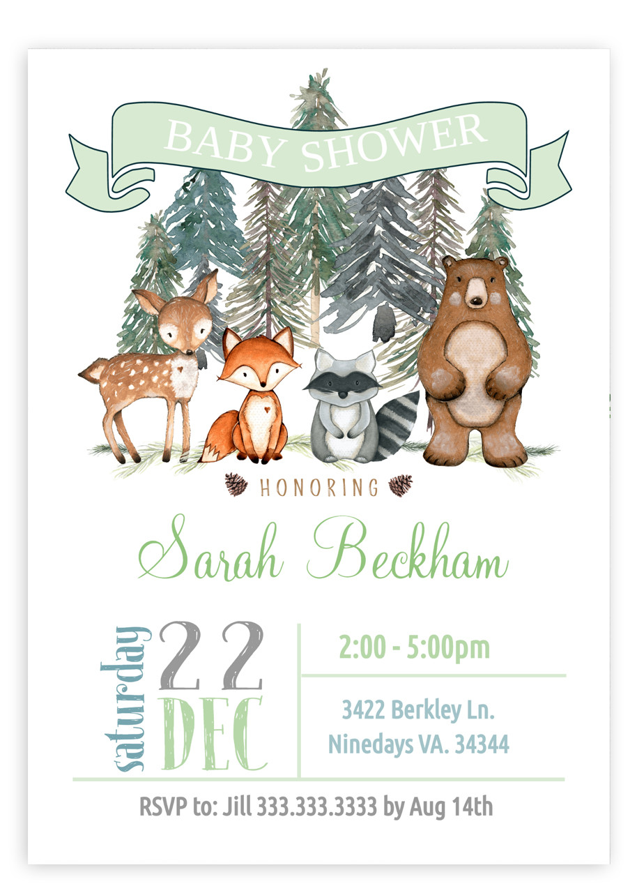 Woodland baby shower invitation, Woodland animals #2