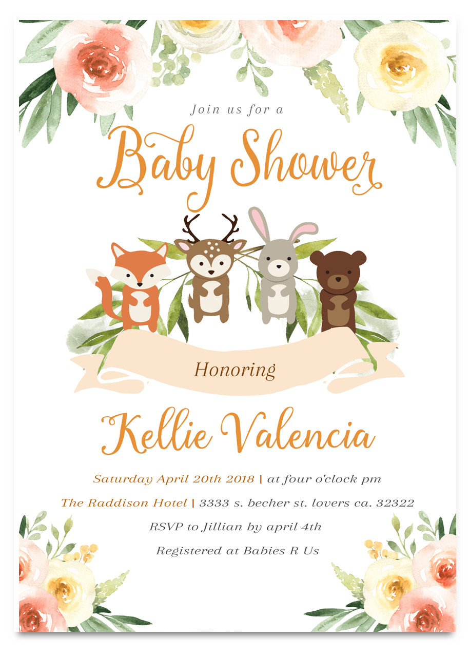 Woodland baby shower invitation, Woodland animals #7