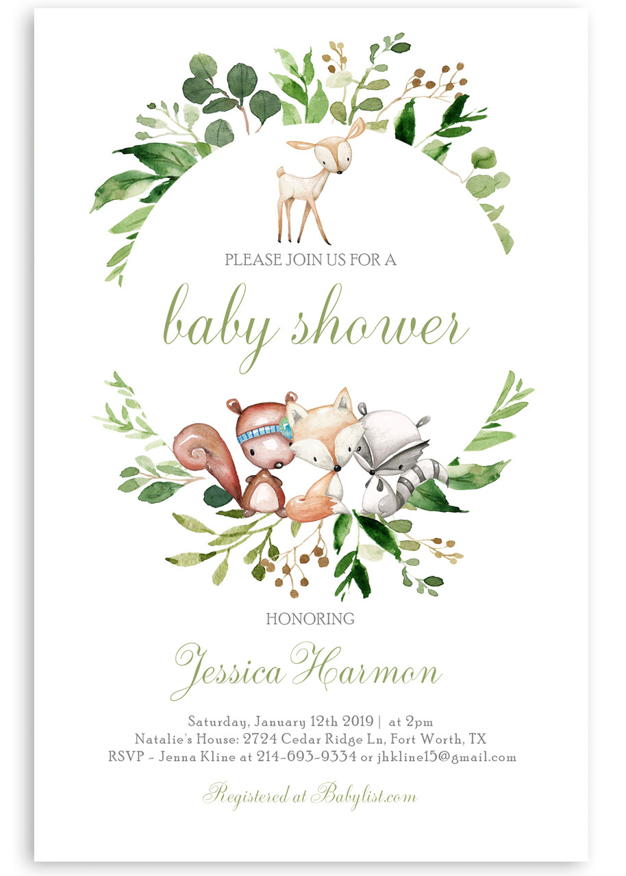 Woodland baby shower invitation, Woodland animals #12