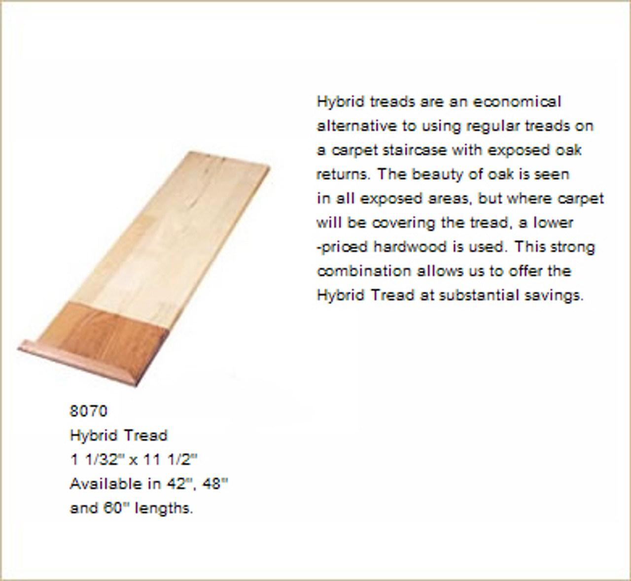 8070Ht 48 Red Oak Hybrid Stair Tread | 42 Oak Stair Treads | Stair Parts | Wood | White Oak Unfinished | Modern Retro | Lowes