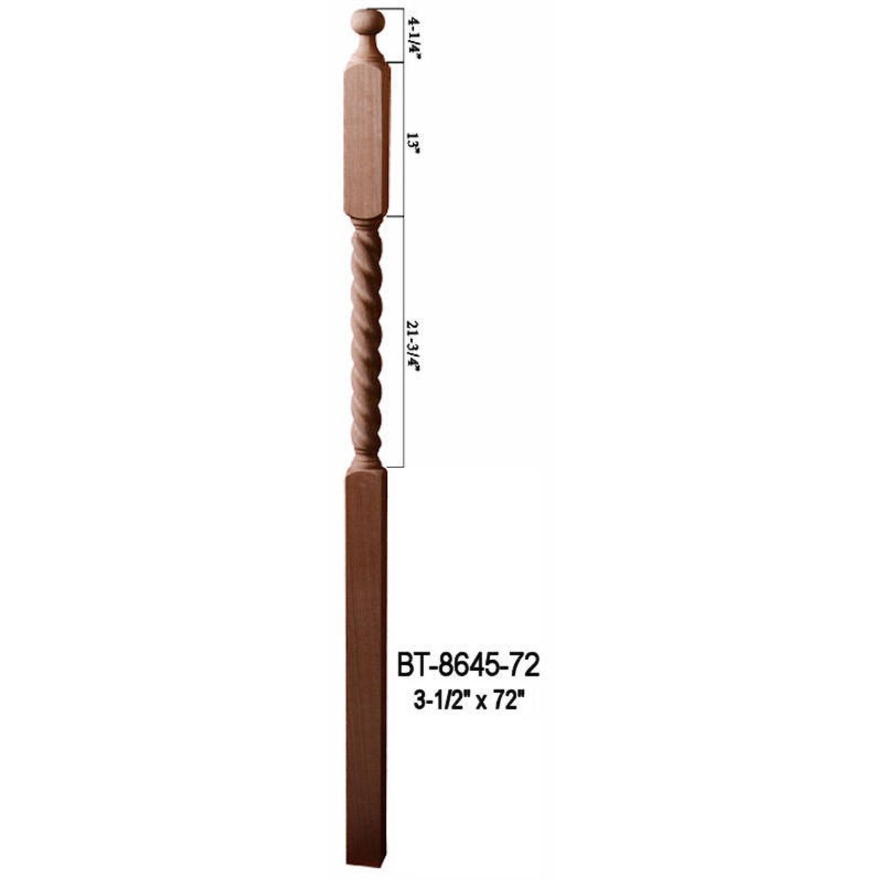 Bt 8645 72 72 Barley Rope Twist Ball Top Lascala Newel Post   Barley Twist Newel Post   Column   1930 Style   20'S   Spindle   Square
