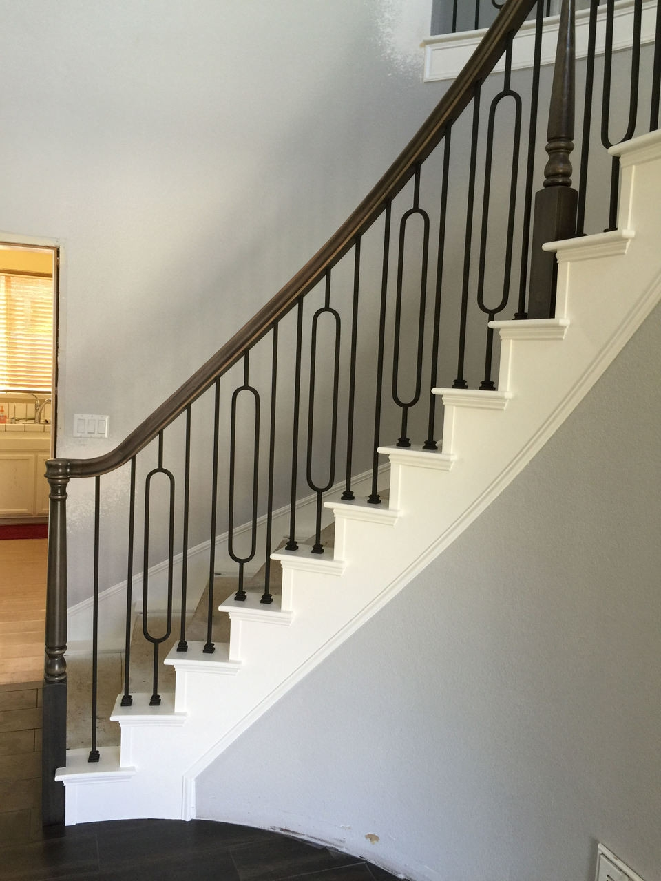 T 80 Single Oval Tubular Steel Stair Baluster Westfire Stair   Iron Handrails For Stairs   Cheap   Staircase   Spanish Style   Wood   Craftsman Style
